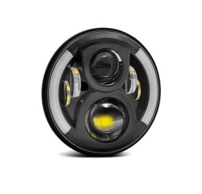 "7"" Round 7050 Headlight Assembly - Single with Switchback Halos"