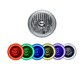 "7"" Round Sealed Beam Headlight Assemblies with Fusion V.3 Color Changing Halos Installed (Single)"