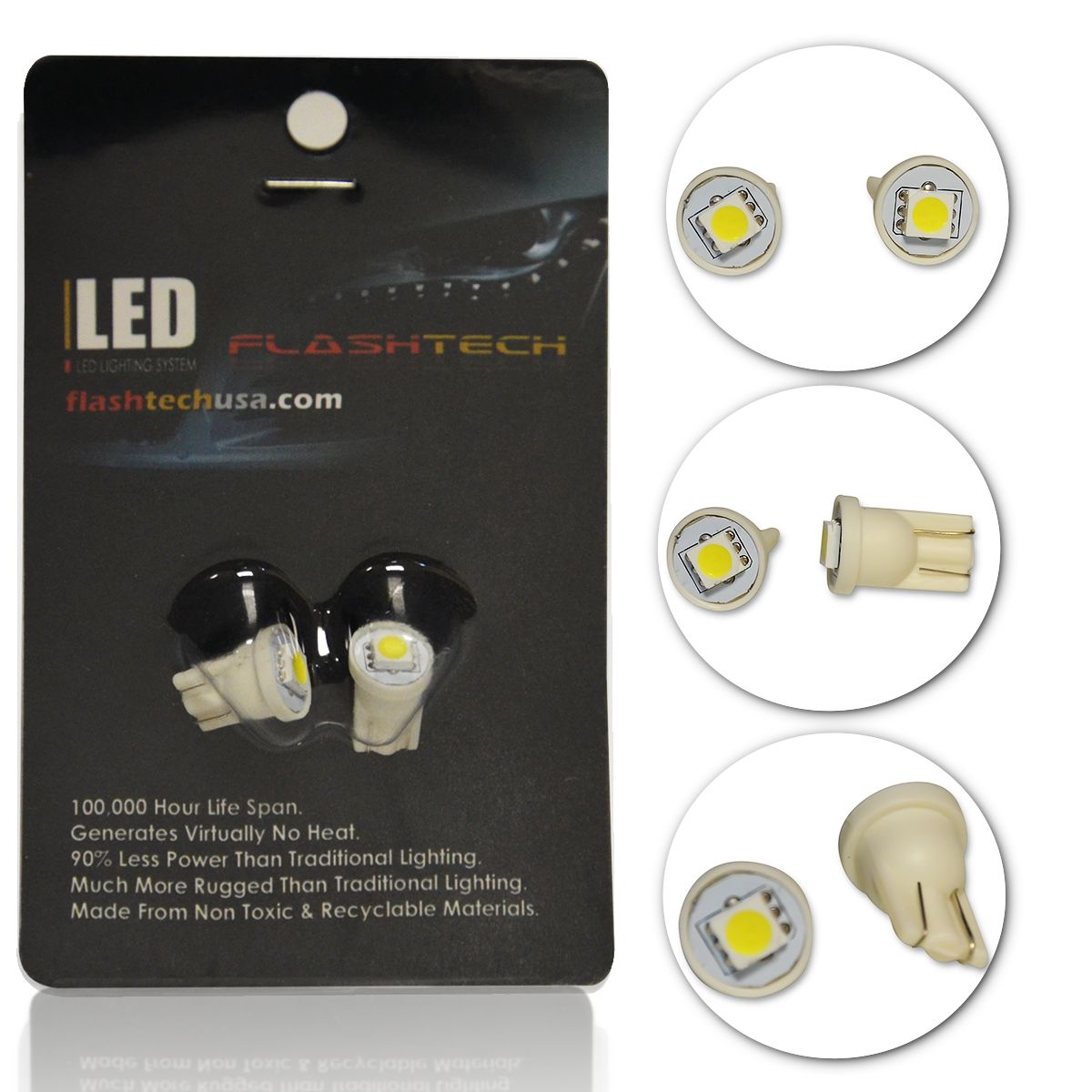 LED Exterior and Interior SMD LED Bulbs - 1 5050 LED - T10