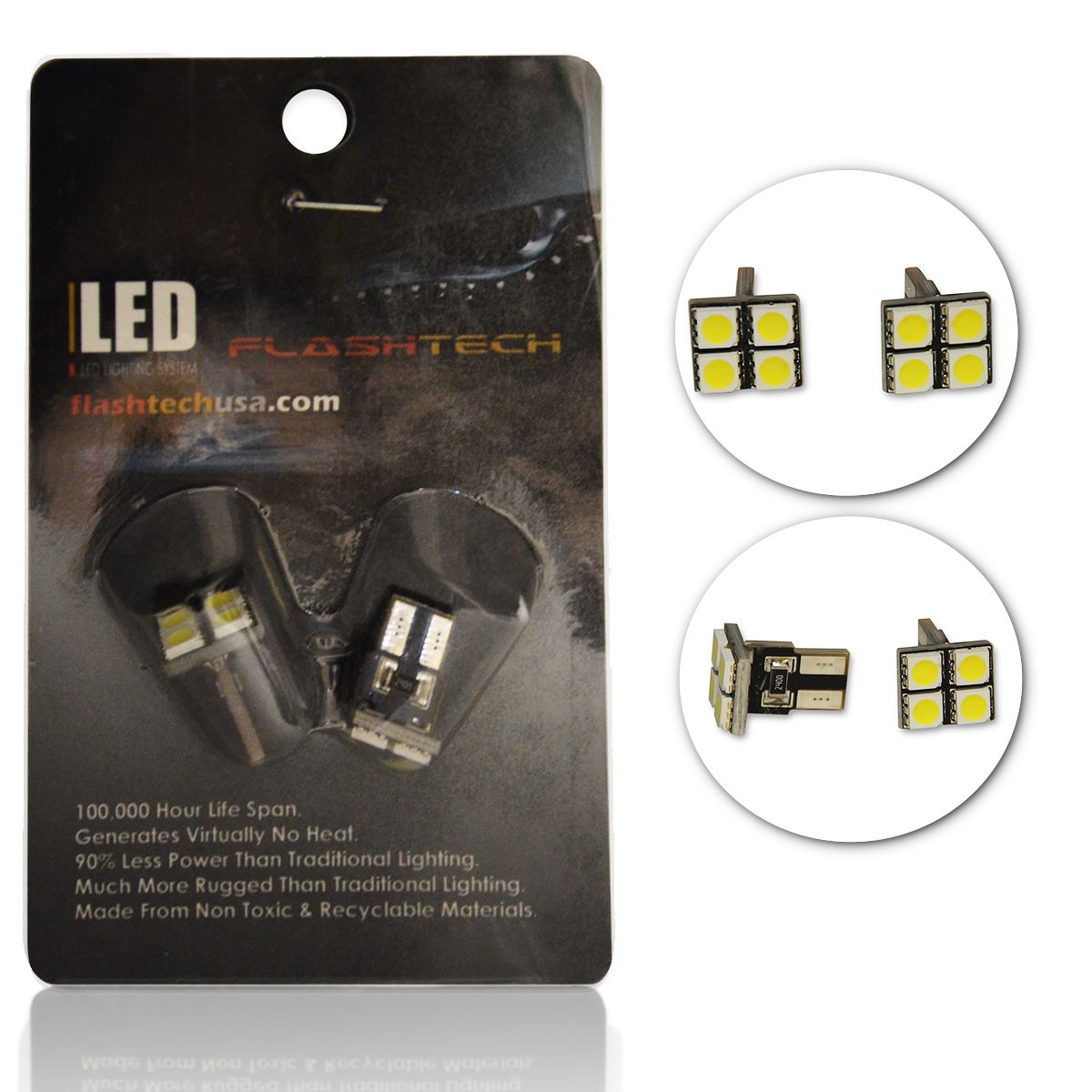 LED Exterior and Interior SMD LED Bulbs - 4 5050 LED - T10 Flat Canbus