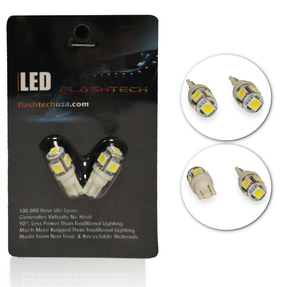 LED Exterior and Interior SMD LED Bulbs - 5 5050 LED - T10
